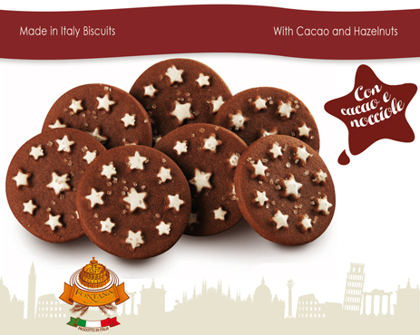 Made in Italy chocolate biscuits for wholesale business to business food distributors, Italian breakfast biscuits manufacturer for food wholesale distribution worldwide
